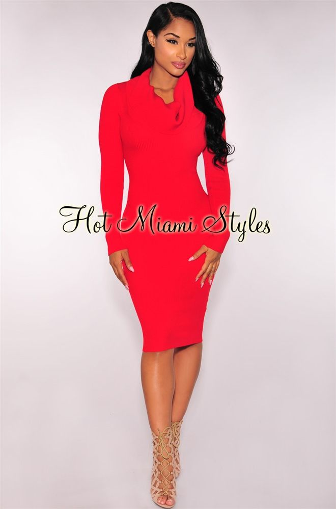Red Knit Ribbed Cowl Neck Dress