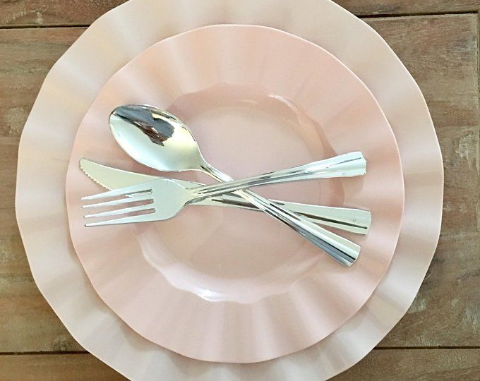Modern White And Silver Party Plates Disposable Wedding Etsy In 2020 Fancy Disposable Plates Plastic Plates Wedding Disposable Wedding Plates