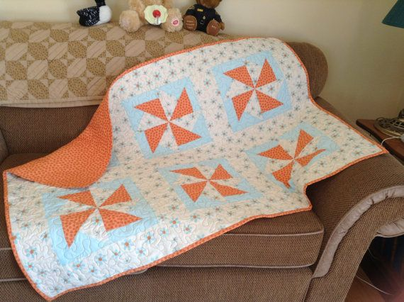 Pinwheel Baby Quilt by SewingbyApril on Etsy