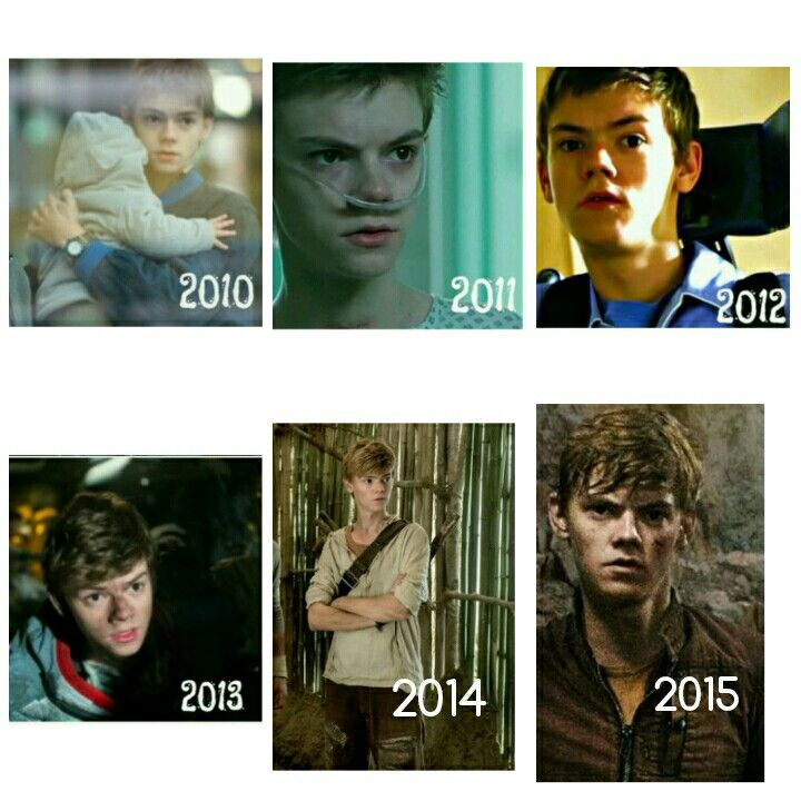 The evolution of Thomas Brodie-Sangster 2010:Some Dogs Bite 2011:Hideaways 2012:the baytown outlaws 2013:orbit ever after 2014:the maze runner 2015:Maze Runner :The Scorch Trials<---bearing in mind he is 20 in the first one