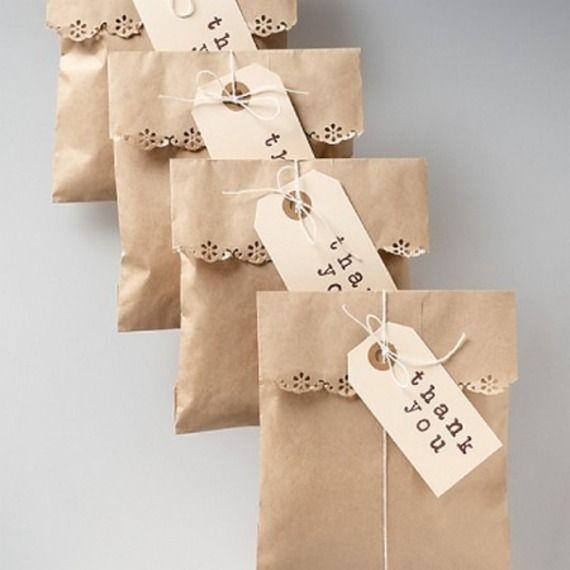 Lot de 50 Pochettes cadeaux en papier Kraft 12 x 20 cm