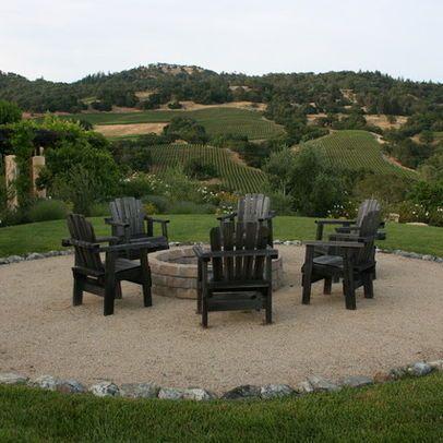 pea gravel fire pit area | Mediterranean Home backyard fire pit Design Ideas, Pictures, Remodel ...