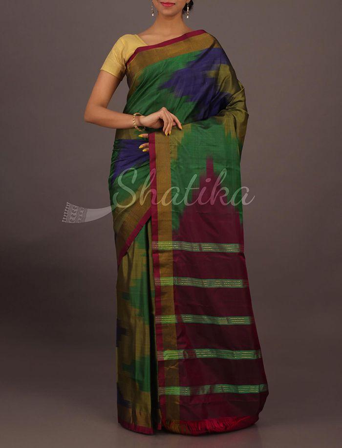 Ashika Multicolored Blot Ink Ikat Stripy Pallu Contemporary #SoftSilkSaree