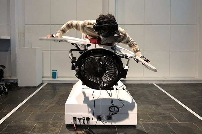 Birdly is a full-body flight simulator integrating the Oculus Rift.