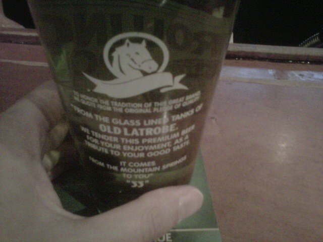 Side B of the new Rolling Rock Beer glass at Palasad North, London, Canada