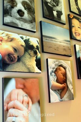 12 Home Decor Modge Podge Projects- Lots of tutorials, including these DIY photo canvases by 'Literally Inspired'!