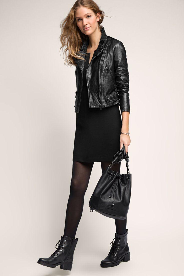 Esprit - Kurze Lederjacke mit Zippern im Online Shop kaufen
