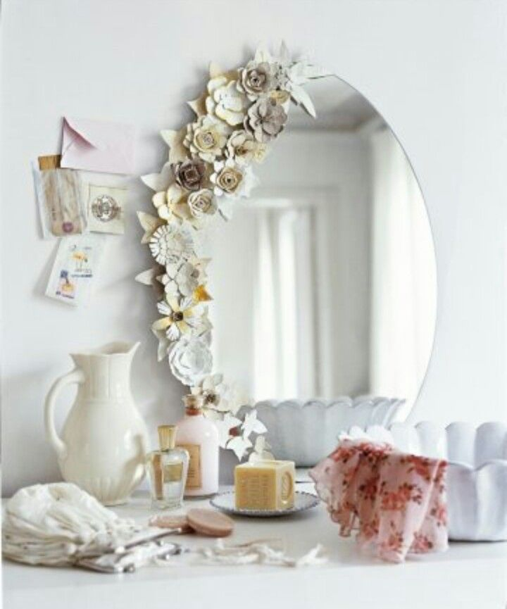 mirror decoration decor ideas pinterest flower diy dorm decor