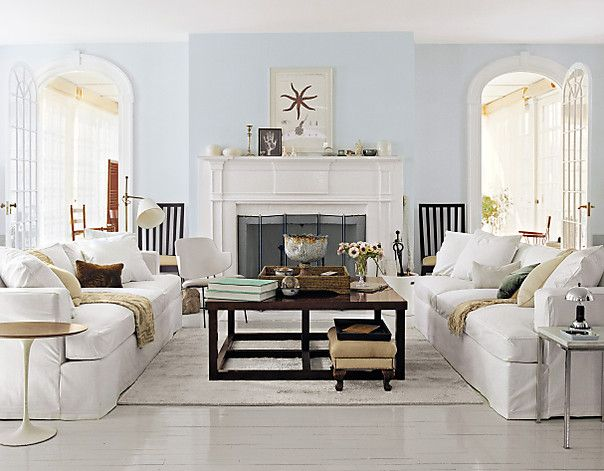 Light blue walls + painted floors. In a perfect world, all white furniture. Sigh.