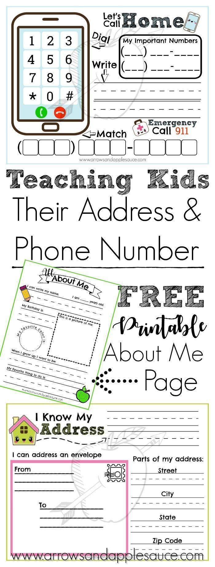 Address And Phone Number Activities Free About Me Printable Arrows Applesauce Preschool Learning Activities Educational Printables Homeschool Kindergarten [ 1840 x 700 Pixel ]
