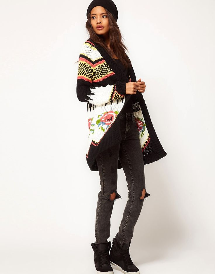 Image 4 of ASOS Premium Hand Knit Cardigan With Floral Jaquard
