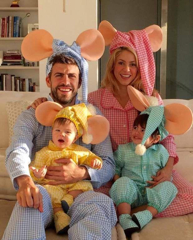 Shakira junto con Piqué, Sasha y Milan se visitieron de la familia Topo Gigio.: