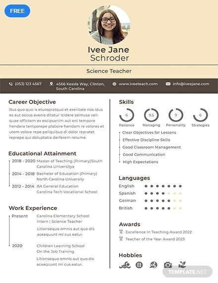 Free Fresher School Teacher Resume Format Teaching Pinterest