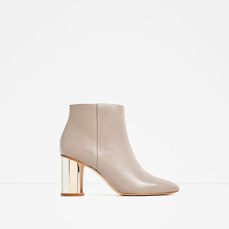 ZARA - WOMAN - LEATHER ANKLE BOOTS WITH METAL HEEL