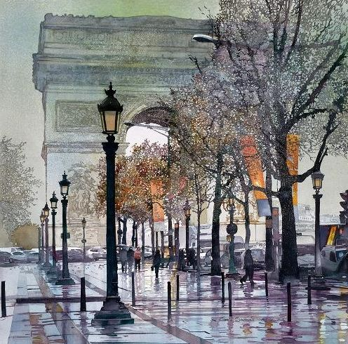 Arc de Triomphe de l'Étoile, watercolor by John Salminen. The Arc de Triomphe is one of the most famous monuments in Paris. It stands in the centre of the Place Charles de Gaulle.