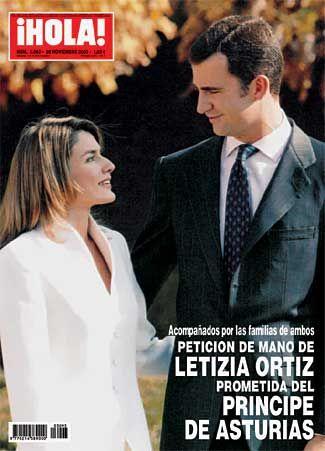O anuncio de noivado de Felipe e Letizia na capa da revista Hola.