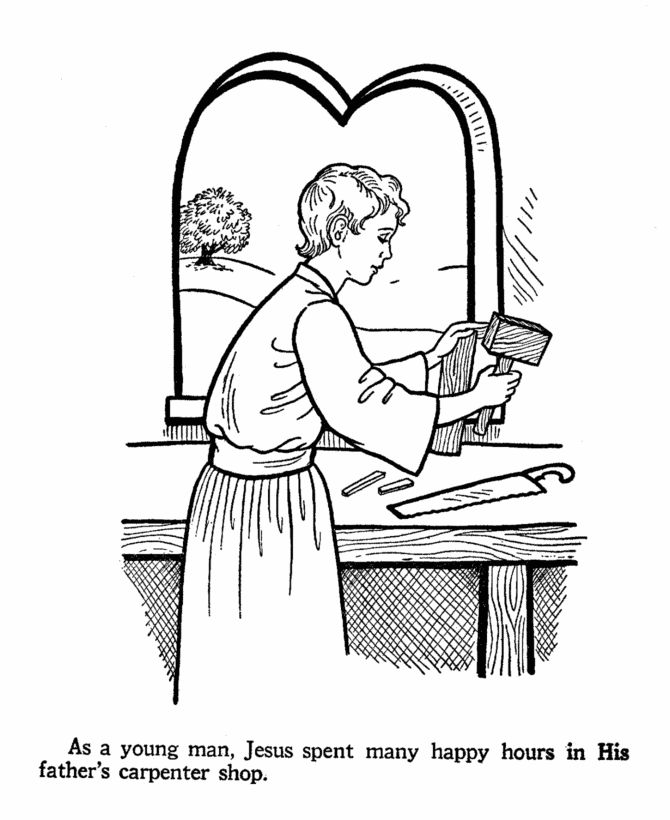 jesus at work in st josephs carpenter shop coloring page - Father Coloring Page Catholic