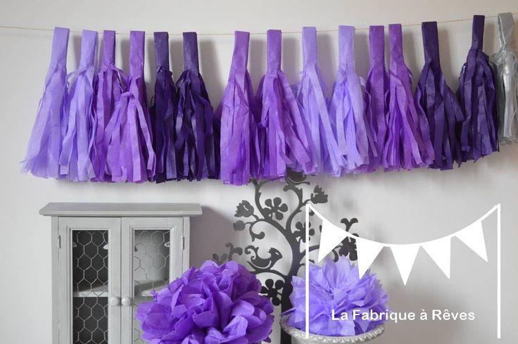 Guirlande tassel garland gland pompon d grad parme mauve violet d coration mariage - Chambre mauve et turquoise ...