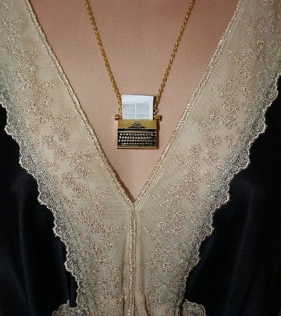 """""""The Writer"""" - Gold plated typewriter necklace by designer PenelopesPorch."""