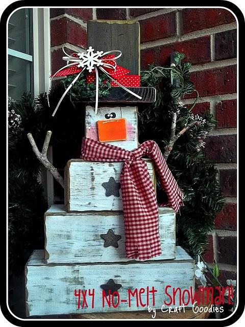 4X4 No Melt Snowman {Tutorial}: 4X4, Wooden Snowman, Christmas Crafts, Melted Snowman, So Cute, Snowman Tutorials, Christmas Decor, Woods Blocks, Wooden Snowmen