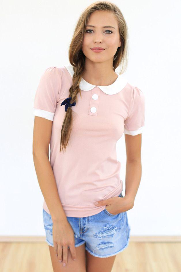 Verspieltes Shirt in Altrosa mit Bubikragen und Knöpfen / cute soft pink shirt with white buttons, casual outfit made by ShokoShop via DaWanda.com