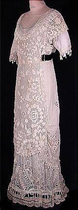 1912 Irish Crochet Lace Wedding Gown (front)