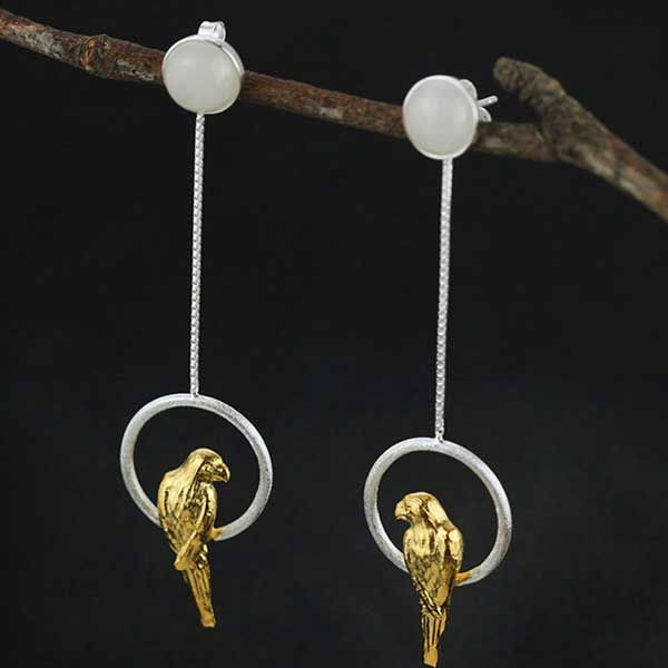 Product of the Week: Parrot Earrings. Made from sterling silver & chalcedony these beautiful earrings are a delight. http://ow.ly/P5ty30f6IjK .  .  #figandwattle #parrot #earrings #silver #chalcedony #energy #harmony #whosaprettyboy #fashion #instafashion #parrotsofinstagram #bird #wildlife #animal #polly #fly #tropical