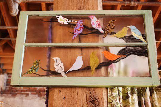 Look! Decoupaged  Window Idea