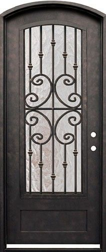 38 x 98 Forte Iron Arch Door. Beautiful wrought iron door with grille for only $1,798!