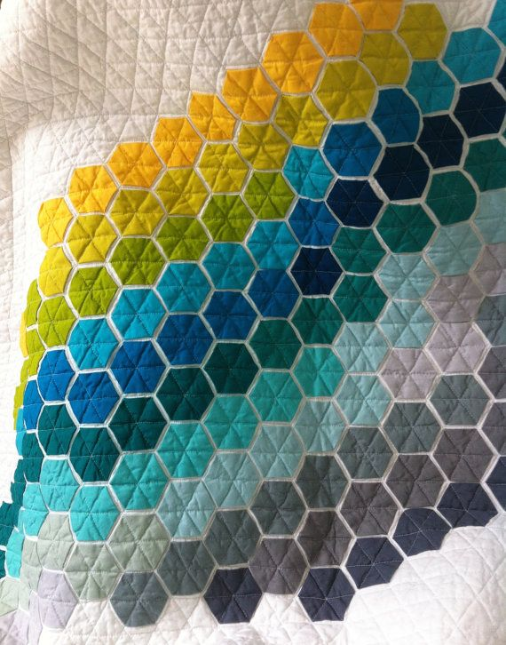 Baby quilt, modern hexagon quilt, cot patchwork quilt, modern bright hexagon…