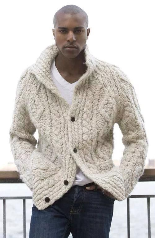 Chunky hand knit men's cable cardi, BANDofTAILORS, Etsy