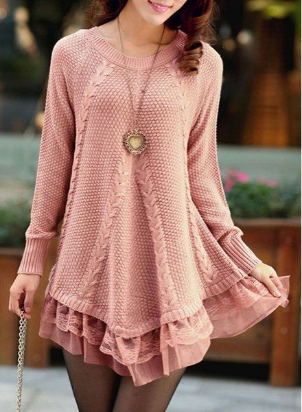 Stylish Scoop Neck Long Sleeve Solid Color Laciness Sweater For Women