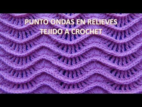 Punto tejido a crochet N°19 Hojas en Rococo y relieves para cobijas y mantitas de bebe - YouTube