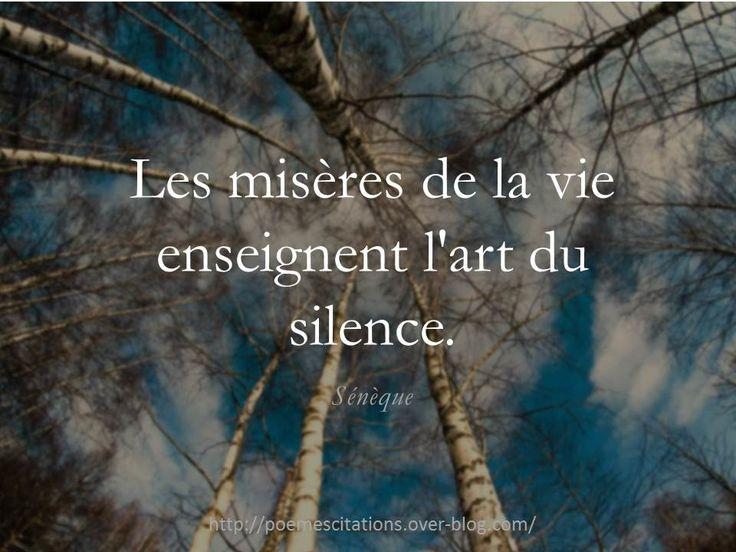 """Sénèque """"Les misères de la vie enseignent l'art du silence."""" Sénèque"""