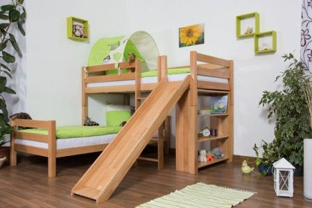 L-Shaped Bunk bed Moritz, solid beech wood, with shelf and slide, clearly varnished, incl. slatted frames - 90 x 200 cm