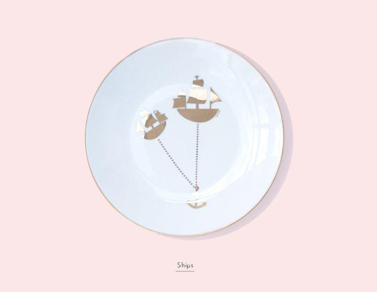 Secon Life of Plates/ SHIPS / Lapinska Porcelain /  www.lapinska-porcelana.com plate porcelain lapinska