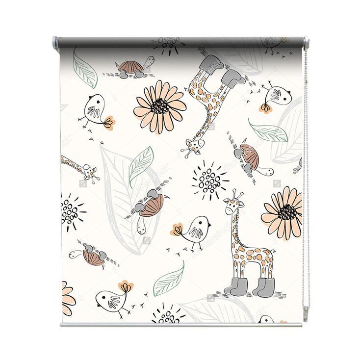 Rolgordijn Tekeningetjes | De rolgordijnen van YouPri zijn iets heel bijzonders! Maak keuze uit een verduisterend of een lichtdoorlatend rolgordijn. Inclusief ophangmechanisme voor wand of plafond! #rolgordijn #gordijn #lichtdoorlatend #verduisterend #goedkoop #voordelig #polyester #bloemen #bloem #babykamer #baby #giraf #vogel #schildpad