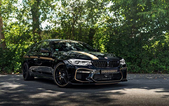 Download Wallpapers Bmw M5 2018 Manhart V8 Biturbo Black Sedan Tuning M5 New Black F90 Bmw M5 Bmw Bmw Design