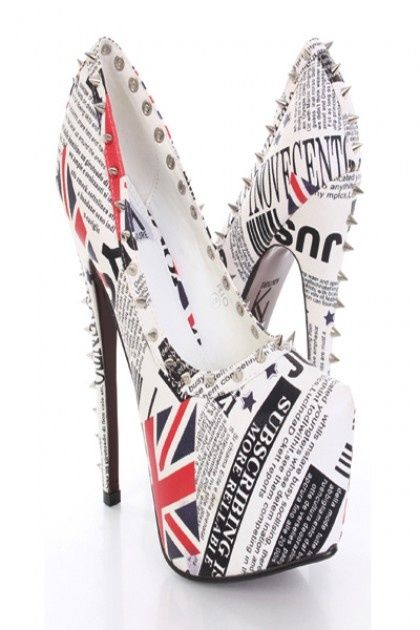 London Print Faux Leather Spike Studded Platform Heels- I'm not British so  I wouldn't wear these publicly, but they are gorgeous.