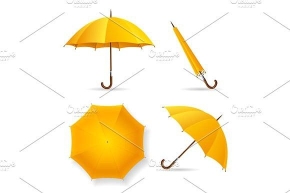 Yellow Umbrella Template Set. Vector. Objects. $5.00
