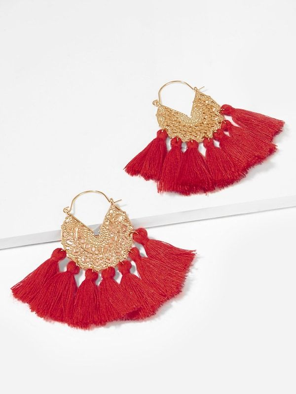16c6a95a1a Engraved Detail Fan Tassel Drop Earrings -SHEIN(SHEINSIDE ...
