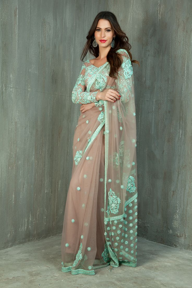 Net saree and blouse embellished with contrast resham and bead work
