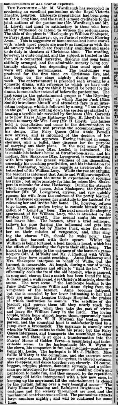 Staffordshire Advertiser 01 Jan 1870 - Panto. written by Henry Lloyd and Matthew Wardhaugh.  Performers include Henry and his wife.
