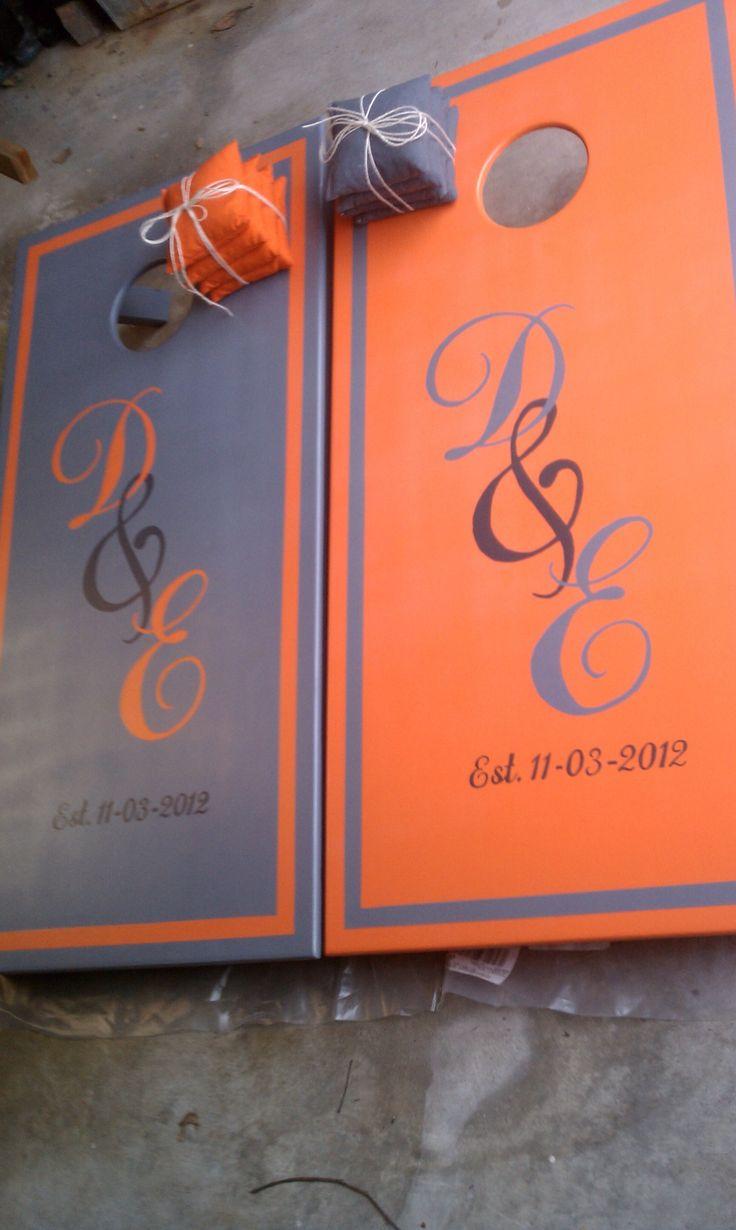 dustin and emilys wedding cornhole boards