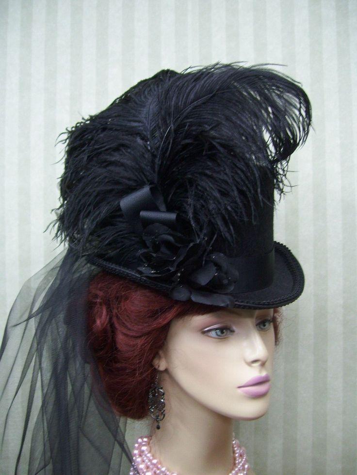 Victorian Ladies Civil War Derby Lolita Neo Victorian Steampunk Black Top Hat. $49.99, via Etsy.