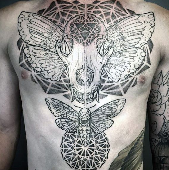 Guys Chest Sacred Geometry Geometrical Lines Tattoos