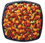 Fruit tray strawberries, mandarin segments, blue berries, green apples and red apples slices