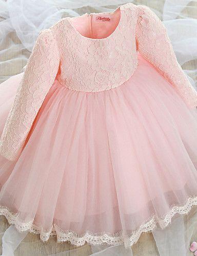 Vestido de Niña Florista - Corte A Hasta la Rodilla - Encaje / Tul Manga Larga 2016 – $39.99