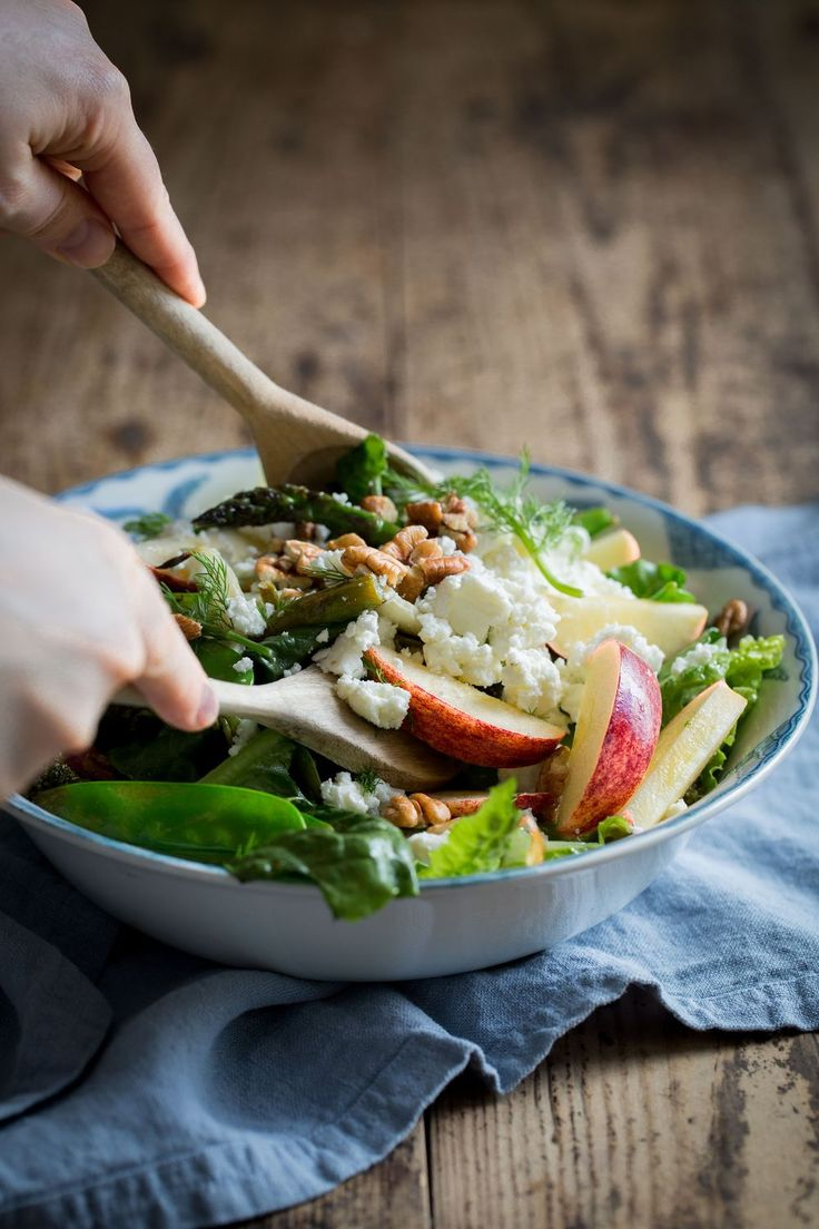 Roasted Fennel, Broccoli & Asparagus Salad with Apples, Feta Cheese & Pecan Nuts