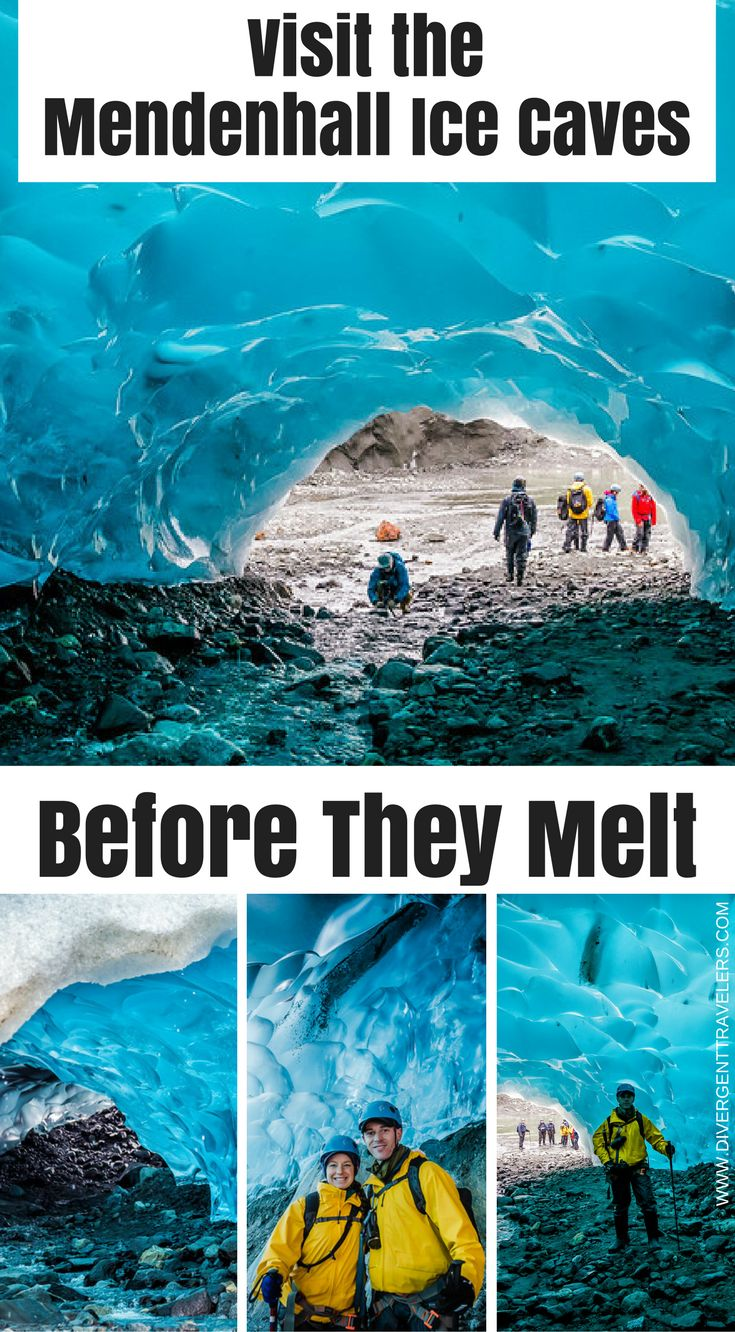 Visit The Mendenhall Ice Caves before they melt. Located a short 12 miles outside Alaska's capital city of Juneau, the Mendenhall Ice Caves are ever changing due to melting ice and glacier  recession but an absolute wonder to explore. That said, accessing them  is no easy feat. Click to read the full blog post by the Divergent Travelers Adventure Travel Blog.